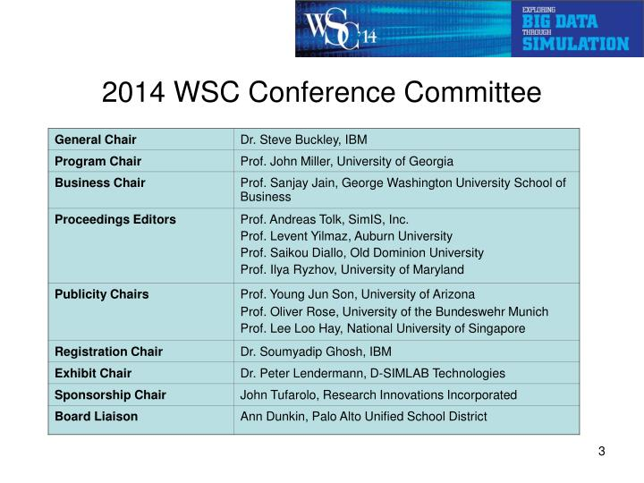 2014 WSC Conference Committee