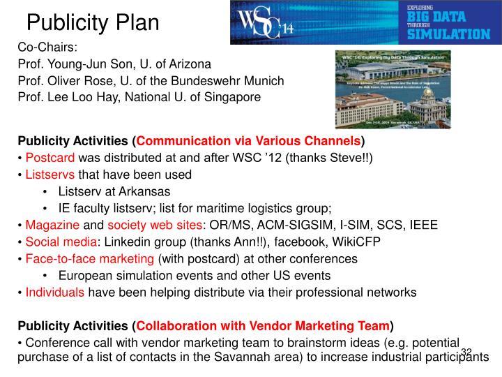 Publicity Plan