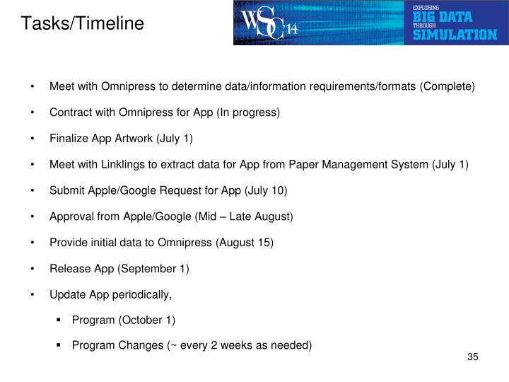 Tasks/Timeline