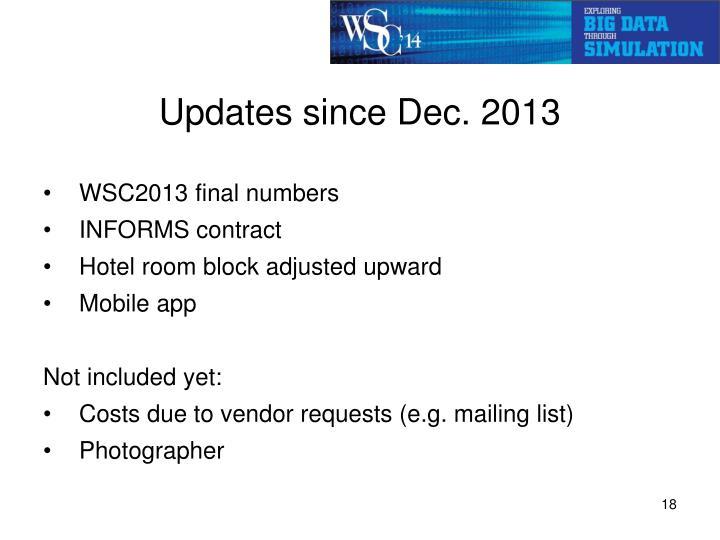 Updates since Dec. 2013