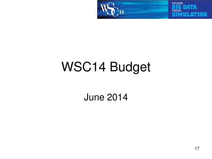 WSC14 Budget