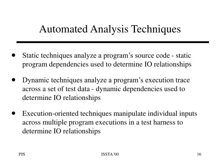 Automated Analysis Techniques