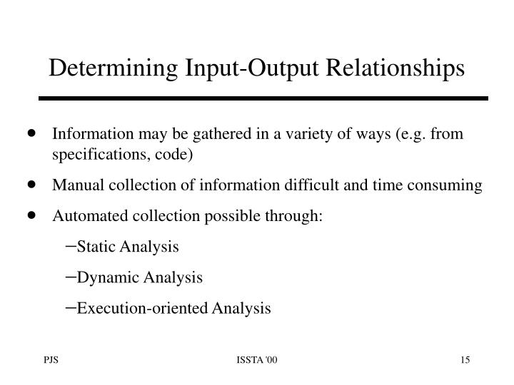 Determining Input-Output Relationships