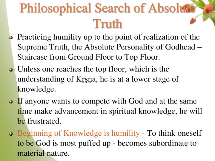 Philosophical Search of Absolute Truth