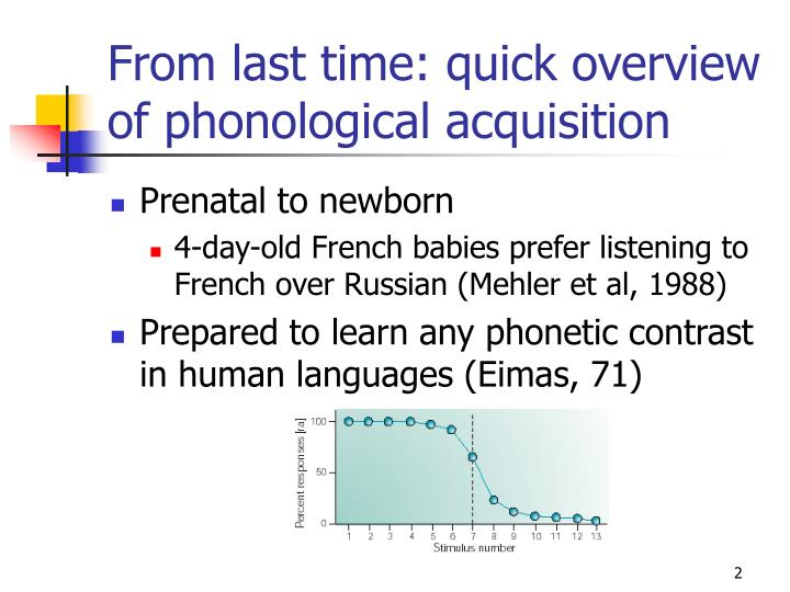 From last time quick overview of phonological acquisition
