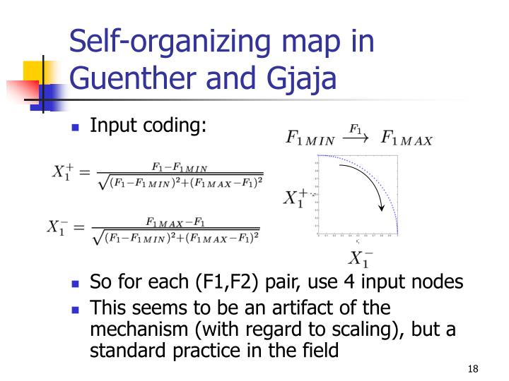 Self-organizing map in Guenther and Gjaja