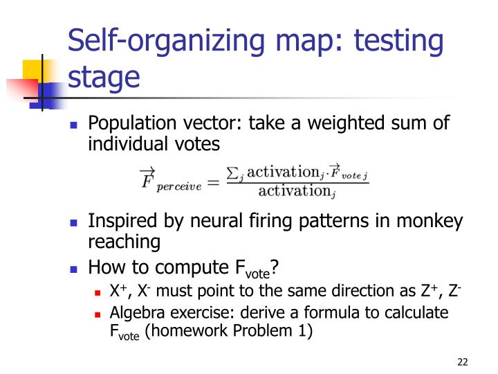 Self-organizing map: testing stage