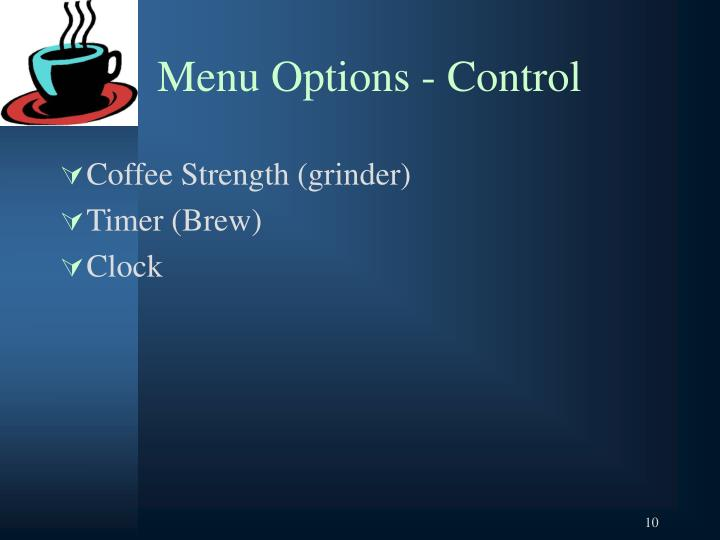 Menu Options - Control