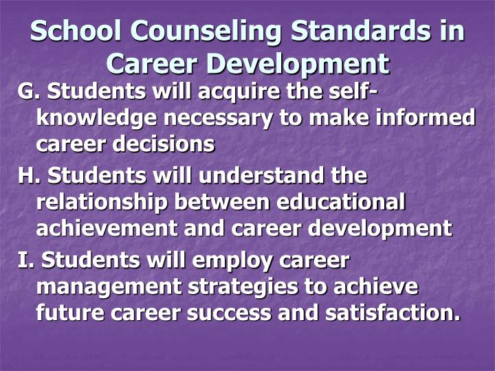School Counseling Standards in Career Development