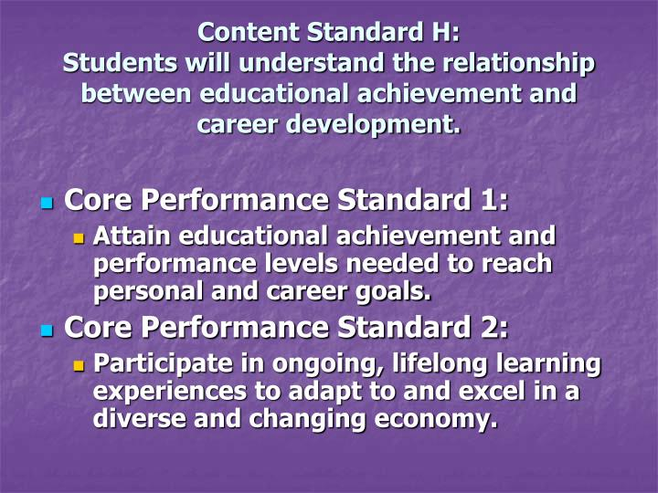 Content Standard H: