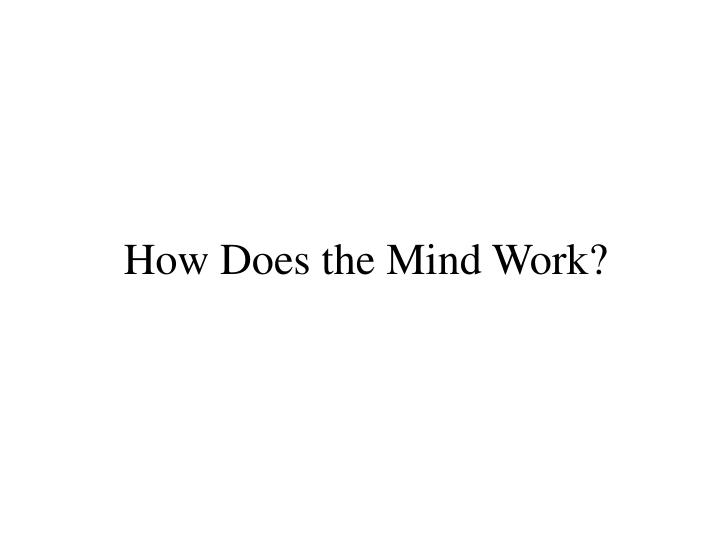 How Does the Mind Work?