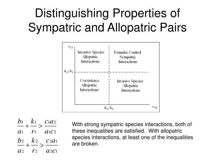 Distinguishing Properties of Sympatric and Allopatric Pairs