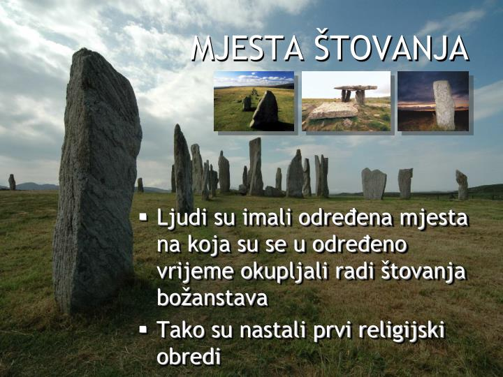 MJESTA ŠTOVANJA