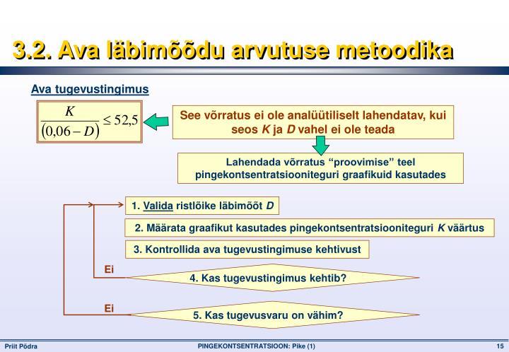 3.2. Ava läbimõõdu arvutuse metoodika