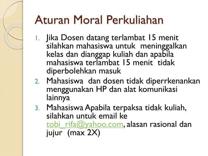 Aturan Moral Perkuliahan