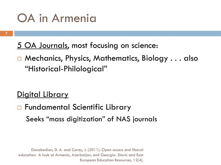 OA in Armenia