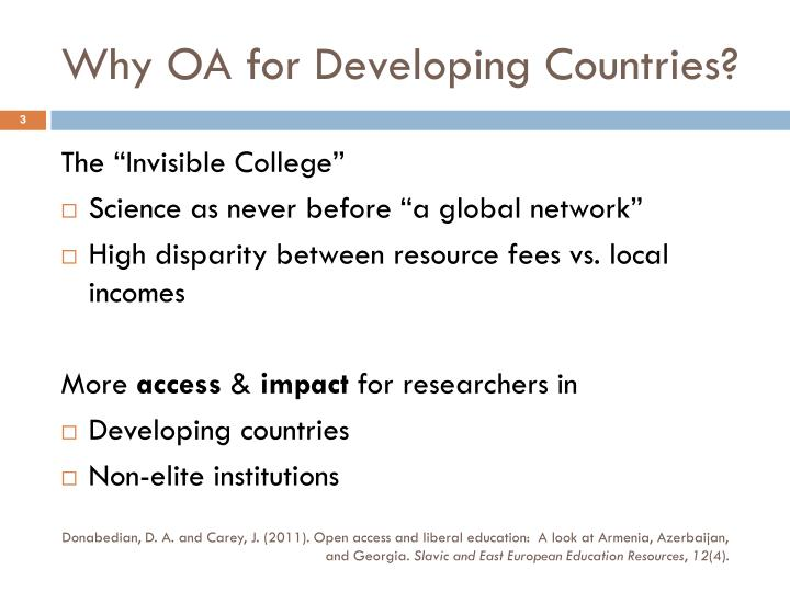 Why OA for Developing Countries?