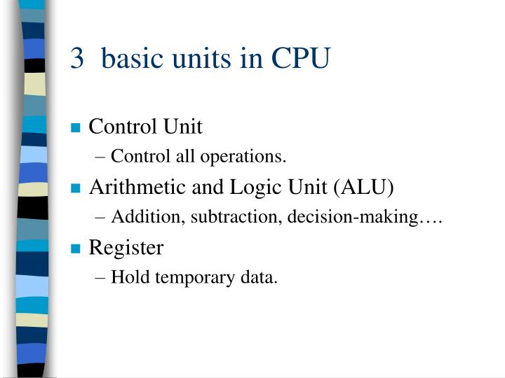 3 basic units in cpu