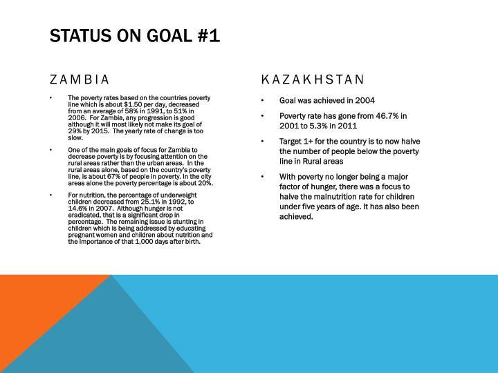 Status on goal #1