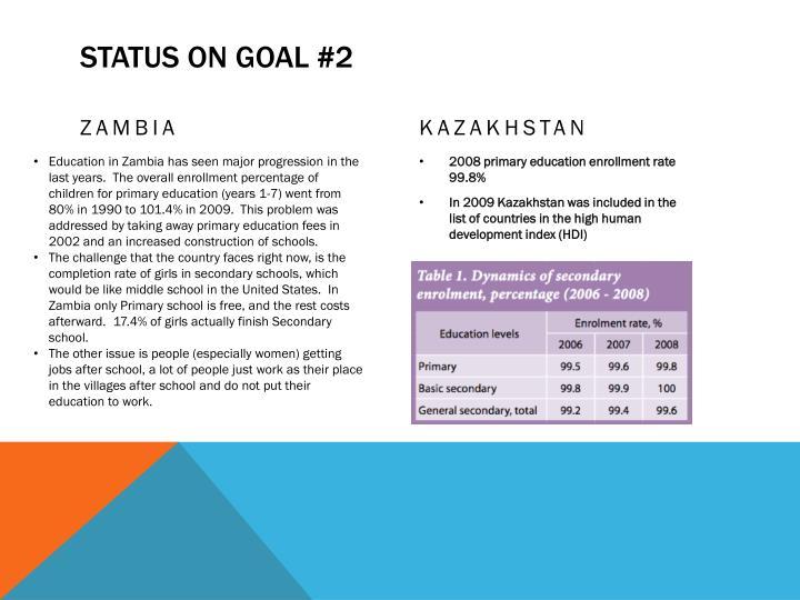 Status on goal #2