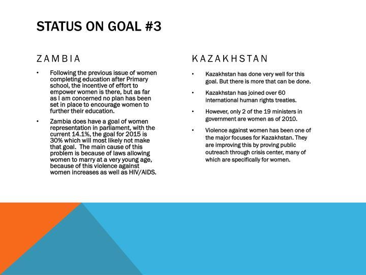 Status on goal #3