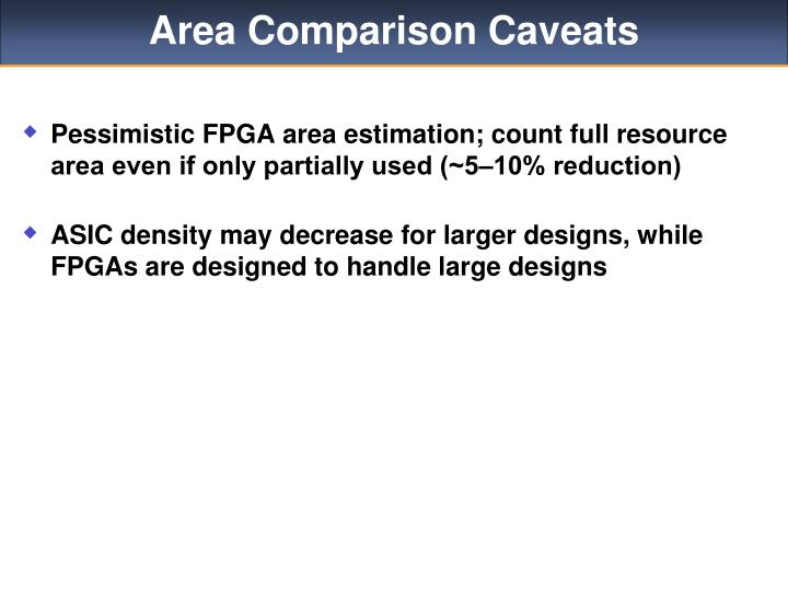 Area Comparison Caveats