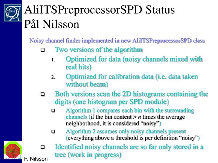 AliITSPreprocessorSPD Status