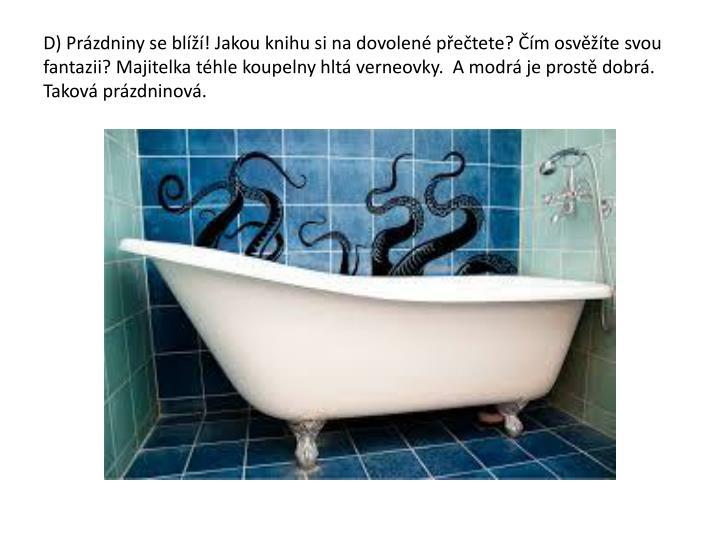 D) Prázdniny se blíží! Jakou knihu si na dovolené přečtete? Čím osvěžíte svou fantazii? Majitelka téhle koupelny hltá verneovky.  A modrá je prostě dobrá. Taková prázdninová.