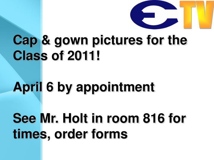 Cap & gown pictures for the Class of 2011!