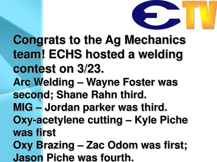 Congrats to the Ag Mechanics team! ECHS hosted a welding contest on 3/23.