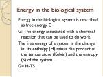 energy in the biological system