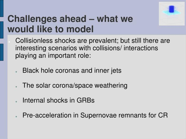 Challenges ahead – what we would like to model