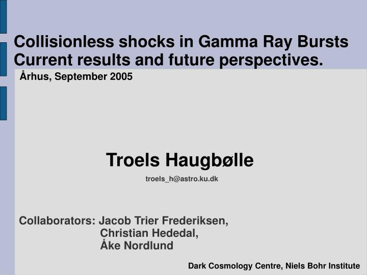 collisionless shocks in gamma ray bursts current results and future perspectives
