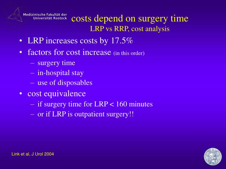 costs depend on surgery time