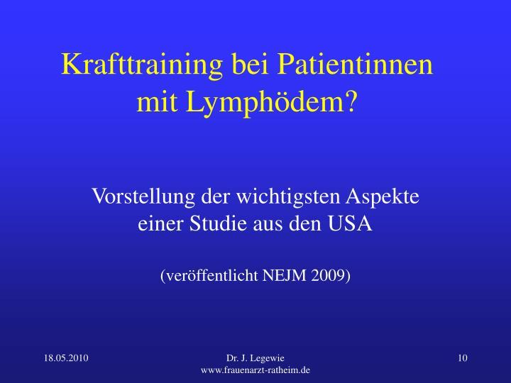 Krafttraining bei Patientinnen mit Lymphödem?