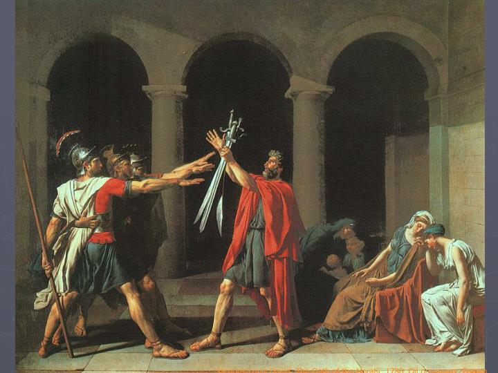 Jacques-Louis David, The Oath of the Horatii, 1786. Oil on canvas, French.