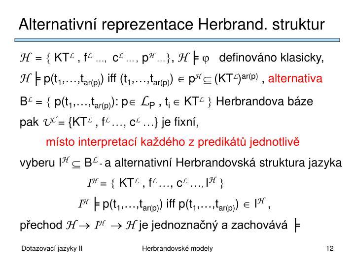 Alternativní reprezentace Herbrand. struktur