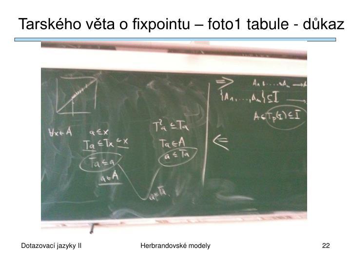 Tarského věta o fixpointu – foto1 tabule - důkaz
