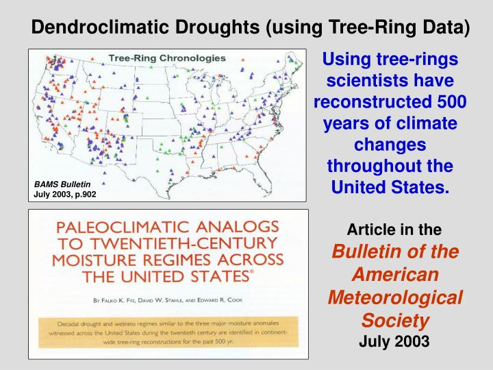 Dendroclimatic Droughts (using Tree-Ring Data)