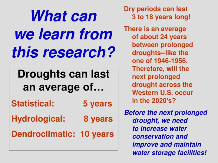 Dry periods can last