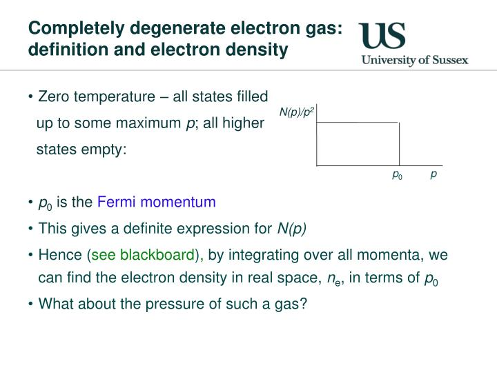 Completely degenerate electron gas: definition and electron density