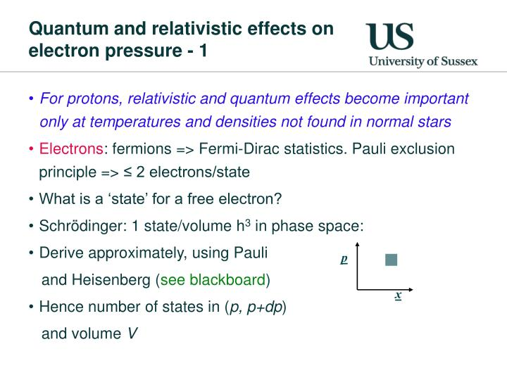 Quantum and relativistic effects on electron pressure - 1