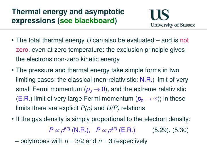Thermal energy and asymptotic expressions (
