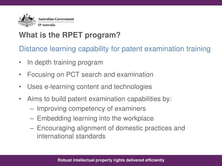Distance learning capability for patent examination training