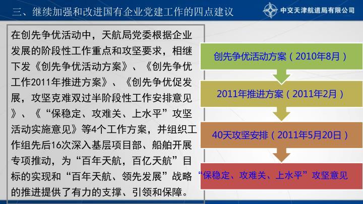 三、继续加强和改进国有企业党建工作的四点建议