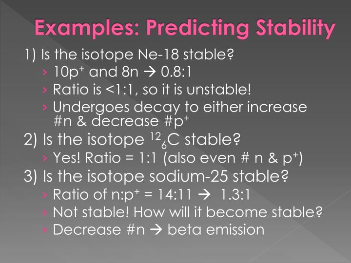 Examples: Predicting Stability