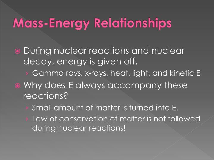 Mass-Energy Relationships