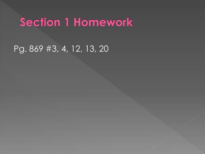 Section 1 Homework
