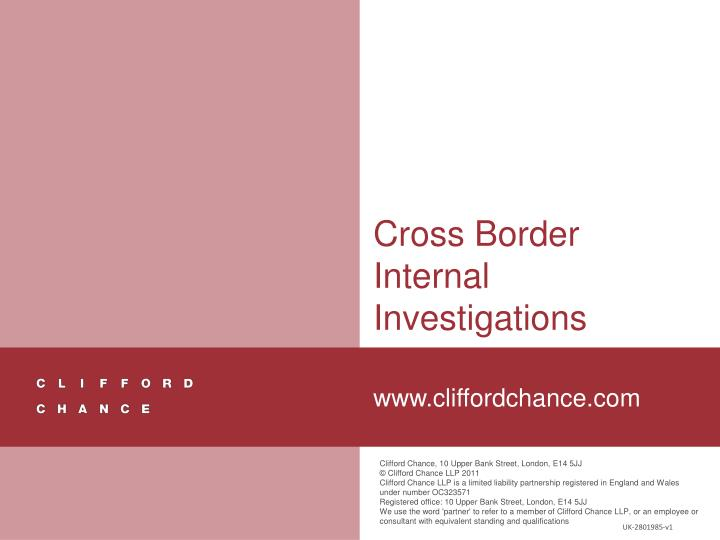 Cross Border Internal Investigations