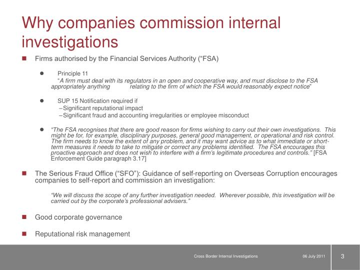 Why companies commission internal investigations